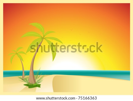 Exotic Beach Postcard/ Illustration of a beautiful exotic beach with palm trees for your vacations.