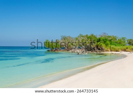 Exotic beach with gold sand and blue sky, Caribbean Islands - stock photo