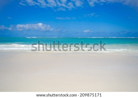 Exotic beach with white sand and the sky is blue with clouds. Dominican Republic, Punta Cana. - stock photo