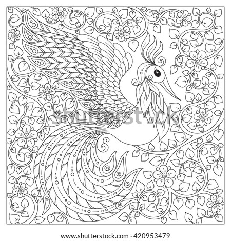exotic birdfantastic flowersbranches vintage hand drawn pattern black and white doodle - Peacock Coloring Book