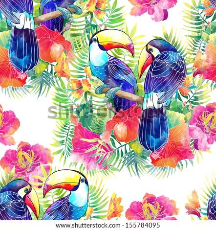 exotic bird toucan and tropical flowers - stock photo