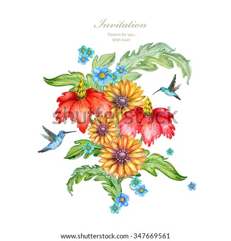 exotic bouquet of lovely flowers and hummingbirds are flying. floral arrangement for your design. watercolor painting - stock photo