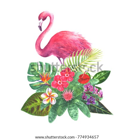 exotic bouquet pink flamingo green tropical stock illustration 774934657 shutterstock. Black Bedroom Furniture Sets. Home Design Ideas