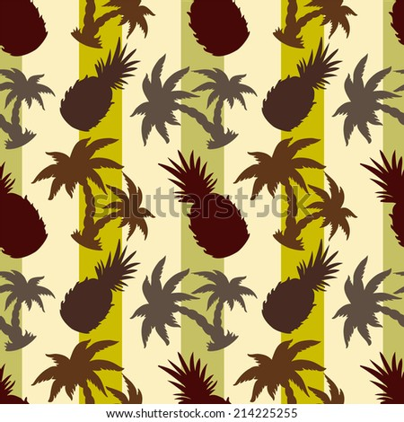 Exotic caribbean seamless pattern with silhouettes tropical coconut palm trees and pineapples. Endless print repeating texture. Striped background. Wallpaper - raster version