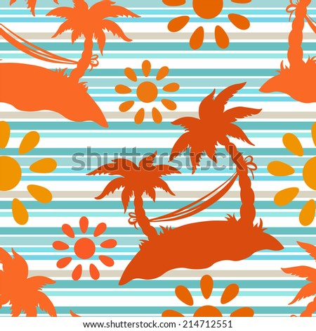 Exotic caribbean seamless pattern with silhouettes tropical coconut palm trees, sun, hammock. Summer, sea, island. Endless print repeating texture. Striped background. Wallpaper - raster version  - stock photo