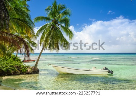 Exotic coast of the Dominican Republic with beautiful beach with moored fishing boat - stock photo