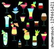 Exotic cocktails collection in neon colors. Raster copy, vector file also available - stock vector