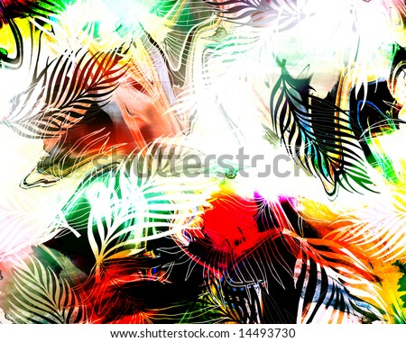 exotic colorful amazonic savage jungle print with rainbow tye-dye and color shading - stock photo