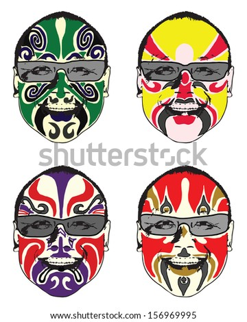 Exotic colorful painted face.  - stock photo