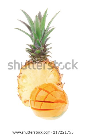 exotic diet food - set of lot of tropical fruits include pineapple and mango isolated over white background - stock photo