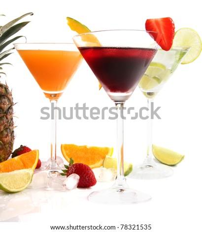 Exotic drinks on white background - stock photo
