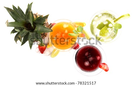 Exotic drinks on white background, top view - stock photo