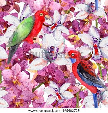 Exotic floral pattern - bright parrot bird, orchid flowers. Seamless template. Watercolour. - stock photo
