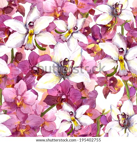 Exotic floral pattern - tropical orchid flowers. Seamless background. Watercolor. - stock photo