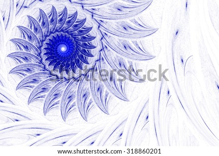 Exotic flower, whirling spiral into infinity. Abstract image. Fractal Wallpaper on your desktop. Digital artwork for creative graphic design. Light background.