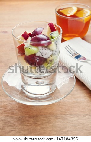 Exotic Fresh Fruit Salad with dragon fruit for dessert