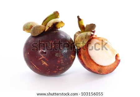 Exotic fruit mangosteen on white background