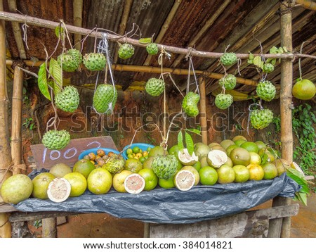 exotic fruit stand in Sri Lanka