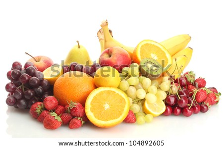 exotic fruits and berries isolated on white - stock photo