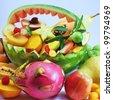 exotic fruits basket - stock photo