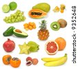 exotic fruits collection on white - stock photo
