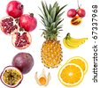 Exotic Fruits, completely isolated - stock