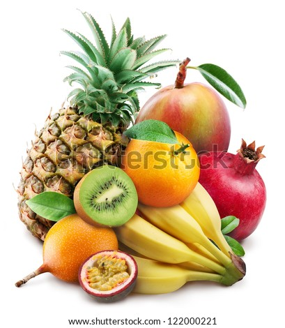 Exotic fruits on a white background. - stock photo