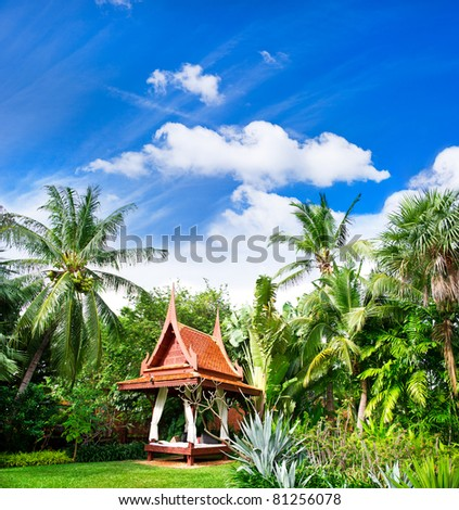 exotic garden. lush tropical plants