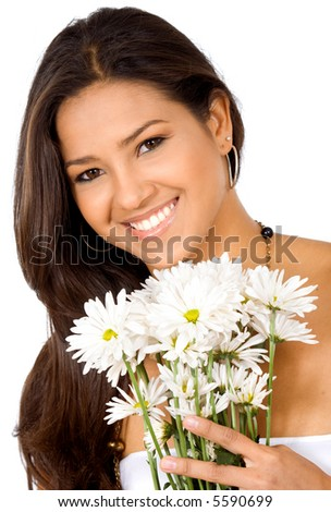 exotic girl holding flowers isolated over a white background - stock photo