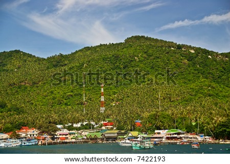 Exotic Green Island Pier in Thailand - stock photo