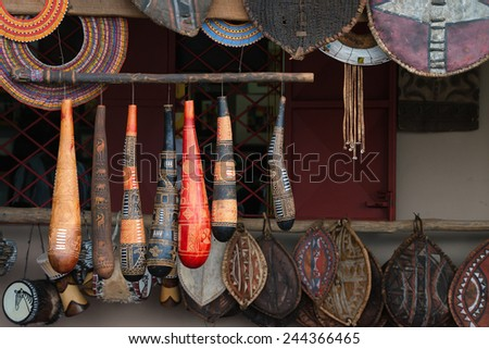 Exotic handmade crafted tribal souvenirs from Africa - stock photo