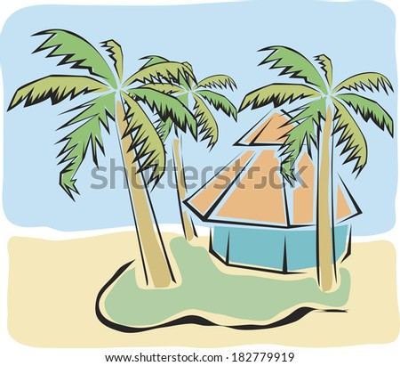 Exotic house with palms