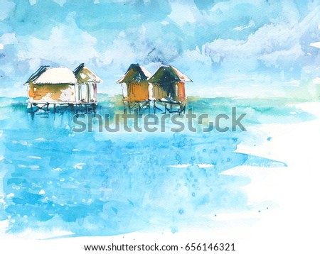 Exotic Houses On Water. Beach Huts. Watercolor Beach.