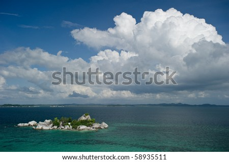 exotic island at belitung indonesia from high angle - stock photo