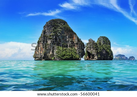 Exotic landscape in Thailand, Railay beach in Krabi. - stock photo