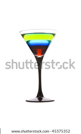 Exotic layered cocktail on white ground