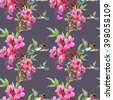Exotic little humming-birds and beautiful blooming flowers seamless pattern on purple background - stock photo