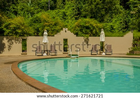 Exotic luxury swimming pool surrounded by palm trees - stock photo