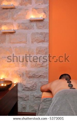 Exotic massage room in wellness center. - stock photo