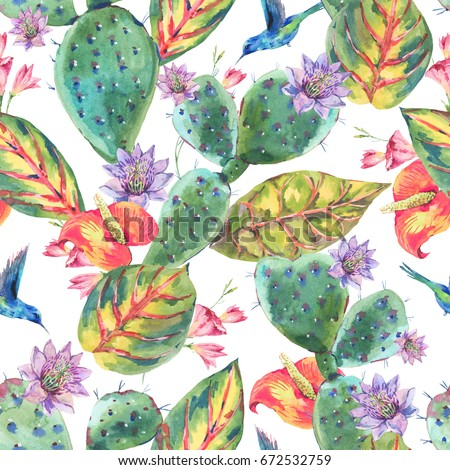 Exotic natural vintage summer watercolor seamless pattern. Cactus, succulent, tropical flowers, hummingbird. Botanical nature cactus Illustration on white background