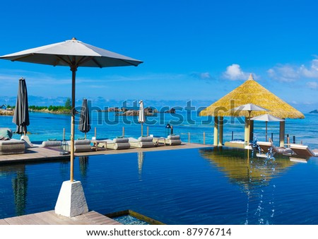 Exotic Palms In Paradise - stock photo