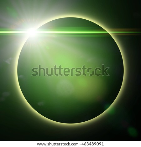 exotic planet surrounded by green light (3d illustration)