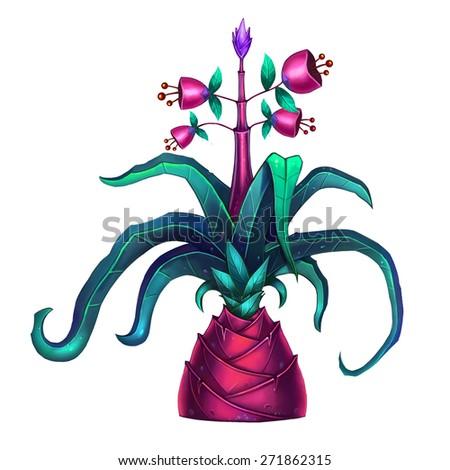 Exotic Plants Set - No.4 - Pineapple - Dark version - stock photo