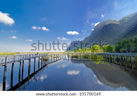 Exotic reflection in a wonderful national park - stock photo
