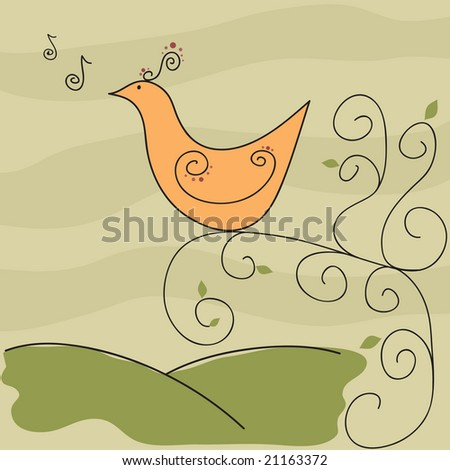 Exotic retro songbird on swirly tree branch with music notes