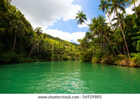 Exotic river cruise in Bohol Philippines - stock photo