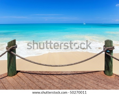 Exotic sea under a blue sky - stock photo
