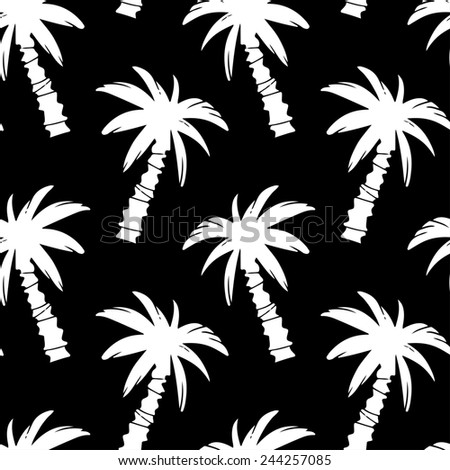Exotic seamless pattern with silhouettes tropical coconut palm trees in black and white. Forest, jungle repeating background. Abstract print texture. Cloth design. Wallpaper - stock photo
