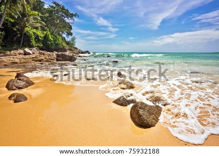 Exotic tropical beach. Thailand - stock photo