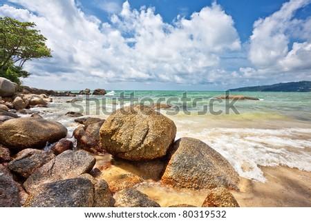 Exotic tropical beach under blue sky. Thailand - stock photo